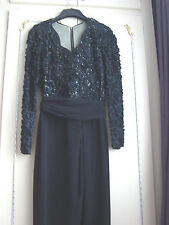 FRANK USHER BLACK DRESS WITH LACE AND SEQUINS TOP AND SLEEVES
