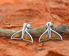 Koa Wood Whale Tail Earrings- Sterling Silver-Hawaiian,Studs,Wood,Sea Life,Cute