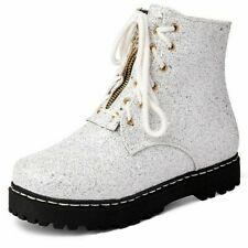 Fashion Womens Combat Ankle Boots Chunky Heel High Glitter Lace Up Shoes Party
