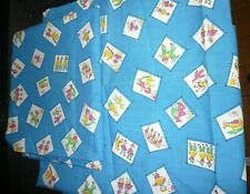 Retro cotton fun fabric blue cerise yellow horses kids