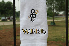Personalized Embroidered Music Note 2 Colors White Hand Towel - 100% Cotton Lomb