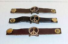 Wholesale Lot of 12 Leather Peace Sign Ring (One Size, 3 Color of Bands) New