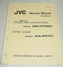 JVC Prelim Service Manual for Portable VCR CR-4700U & Battery Charger AA-P47U