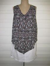 Viscose Geometric Sleeveless Tunic Tops for Women