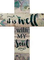 It is Well with My Soul Floral Bird De14x10 Wood Wall Art Cross Plaque