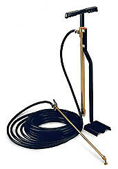 Hill Pumps 0970-001 Brass Stirrup Bucket Pump includes Hose and Spray Nozzle