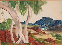.VERY RARE / LARGE K WARMINGHAM HERMANNSBURG SIGNED WATERCOLOUR ON BOARD