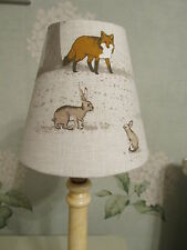 Handmade Candle Clip Lampshade Tatton fabric woodland rabbit fox stag