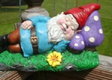 Concrete Gnome, Garden Decor Gnome on a mushroom, Hand Painted, Made in the Usa