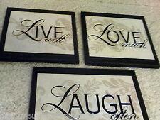 Live Love Laugh Plaques 3 piece set, elegant wall decor pictures black beige