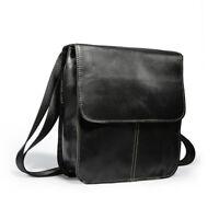Real Leather Men's Casual Small Briefcase Messenger Shoulder Bag Crossbody Black