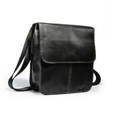 Men Crossbody Bag Shoulder Bag Messenger Handbag Tote Top Grain Leather Black