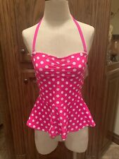 Crown & Ivy Tankini Swimsuit Bathing Suit Small Pink White Polka Dot NWT (110)