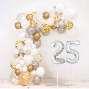 25th Silver Wedding Anniversary DIY Balloon Arch Kit - Includes 120+ Balloons