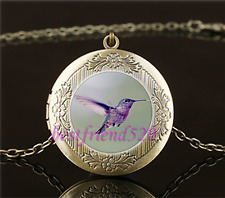Vintage Purple Hummingbird Cabochon Glass Brass Locket Pendant Necklace