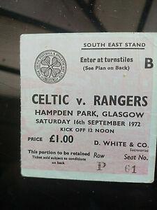TICKET: 16 Sept 1972 Celtic v Rangers @ Hampden Park (Celtic Park under repair)