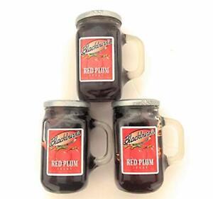 Blackburn's Preserves - 18oz Reusable Handled Glass Jar (Pack of 3) (Red Plum )