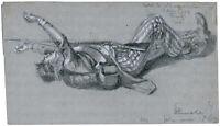 Wilhelm Emelé, Bleistift-/Kreide-Zeichnung, signiert, betitelt & datiert v. 1869