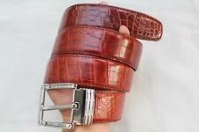 Red Brown Genuine Alligator, Crocodile Leather SKIN MEN'S Belt - W 4cm #TGN105