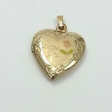 """NEW 14K Gold """"I Love You"""" Rose Heart Photo Picture Locket Charm Pendant 2.7gr"""