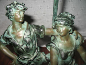 Antique French BRONZE PATINA SPELTER LAMP Signed L & F Moreau