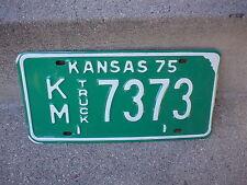 VINTAGE 1975 KANSAS KM 7373 TRUCK  LICENSE PLATE  EXCELLENT CONDITION
