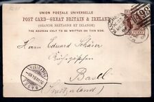 GB QV 1884 1d UPU Postal Stationery Card to Basel WS17371