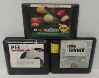 Side Pocket Pool, Tennis, Pele II Soccer - Sega Genesis Working 3 Game Lot Games