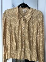 Vintage April Cornell blouse size med gold with flowers button up
