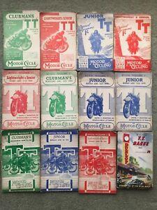Motor cycle road racing programmes x5 Isle of Man TT 1947,1948,1949,1950, 1955