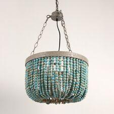 Wood Bead Pendant Three Lights Vintage Rustic Kitchen Ceiling Lamp Light Fixture