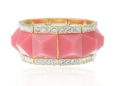 Pink Bead Rhinestone Accented Bracelet Golden Tone Royal Inspired Square