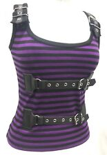 SDL Purple/Black Stripped Top With Adjustable Straps And Buckles Details Size M