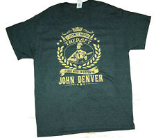"John Denver T-Shirt Tag Size ""I Don't Need Therapy..."" GILDAN Tee Heavy Cotton"