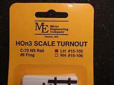 Micro- Engineering 15-105 HOn3 TURNOUT LH #6 frog Code 70 BIGDISCOUNTTRAINS