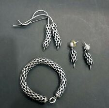 RARE 1950'S NAPIER SILVER PLATED ARTICULATED BRACELET, EARRINGS AND PIN SET