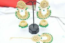 Set With Kaan Chain Jewelry Diwali Indian Bollywood Green Maang Tikka Earring