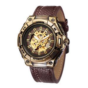 Vintage Bronze Men Automatic Mechanical Skeleton Watch Luxury Retro Leather Band
