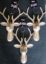 3 x Large Champagne Gold 3D Glitter Reindeer Stag Head Christmas Tree Decoration