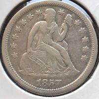 1857 Seated Liberty Dime 10c High Grade Philadelphia #12227