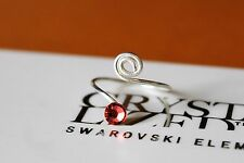 with Padparadscha Swarovski Crystals Elements Swirl Rose Silver Plate Toe Ring
