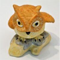 Porcelain Ceramic Owl Figurine Sitting on a Log Unbranded Yellow & Orange