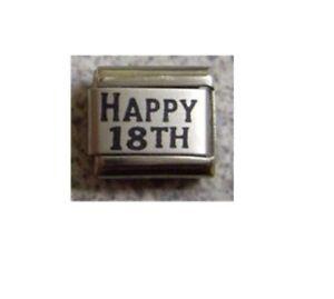9mm Classic Size Italian Charm L22 18 Happy 18th Fits Classic Size Bracelet