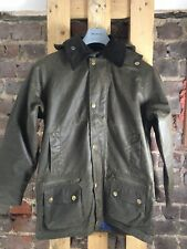 """Country Attire Barbour Style Waxed Hooded Jacket - Olive - Size XS 34"""" - NEW"""