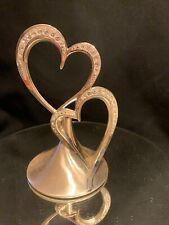 Sparkling Love Silver Heart Hearts Wedding Cake Topper