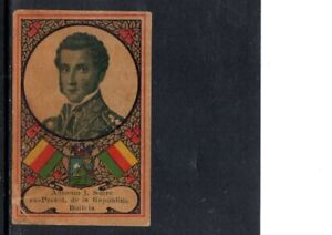 VERY EARLY BOLIVIAN  PRESIDENT CIGARETTE CARD, VERY RARE CARD