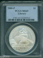 2000-P LIBRARY CONGRESS COMMEMORATIVE SILVER DOLLAR PCGS MS69 MS-69 !