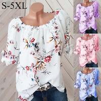 Women Casual Plus Size Half Sleeve Floral Slash Neck Blouse Pullover Tops Shirt