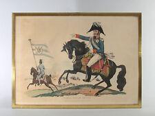 LITHOGRAPHIE ancienne  ENCADREE, Fredéric-Guillaume roi de Prusse, militaria