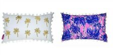 "NWT Lilly Pulitzer Palms Reversible Pillow #172023 20x12"" Metallic Gold+Tassels"